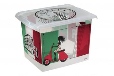 "Fashion műanyag tároló doboz,""ITALY"", 39x29x27 cm"