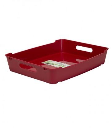 Loft műanyag tároló doboz A4, sötétpiros, 37x28,5x6,5 cm