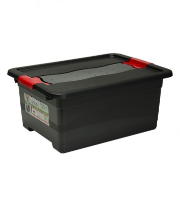Műanyag doboz Crystal – SOLIDO 12 l, grafit, 39,5x29,5x17,5 cm