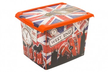 "Fashion műanyag tároló doboz, ""LONDON"", 39x29x27cm - UTOLSÓ  1 DB"