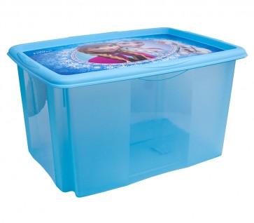"""Műanyag tároló doboz """"FROZEN"""", 45 l, kék, fedéllel, 55x39,5x29,5 cm"""