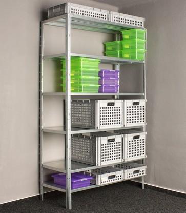 Idea fém polcrendszer, 6 polc, 240x80x40 cm, 140kg