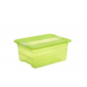 Crystal műanyag tároló doboz 12 l, világoszöld, 39,5x29,5x17,5 cm
