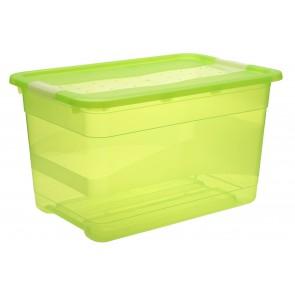 Crystal műanyag tároló doboz 52 l, világoszöld, 59,5x39,5x34 cm