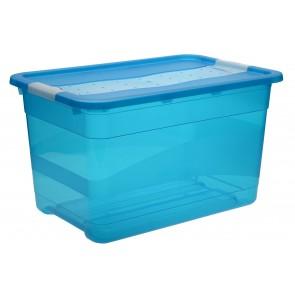 Crystal műanyag tároló doboz 52 L, világoskék, 59,5x39,5x34 cm