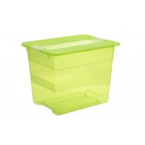 Crystal műanyag tároló doboz 24 l, világoszöld, 39,5x29,5x30 cm
