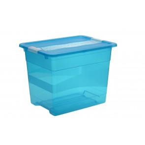 Crystal műanyag tároló doboz  24 l, világoskék, 39,5x29,5x30 cm