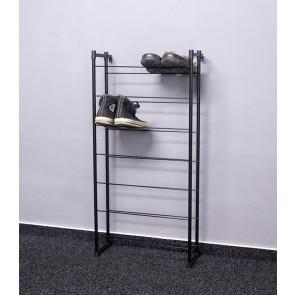 Praktik fém cipőállvány, fekete, 92x46x21 cm, 14 pár cipőnek