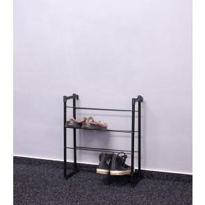 Praktik fém cipőállvány, fekete, 55x46x21 cm, 8 pár cipőnek