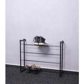Praktik fém cipőállvány, fekete, 53x66x21 cm, 12 pár cipőnek