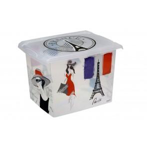 """Fashion műanyag tároló doboz,""""FRANCE"""", 39x29x27 cm"""