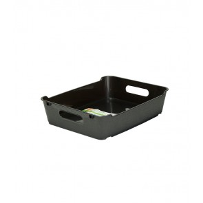Loft műanyag tároló doboz A5, grafit, 28x22x6,5 cm UTOLSÓ 14 DB