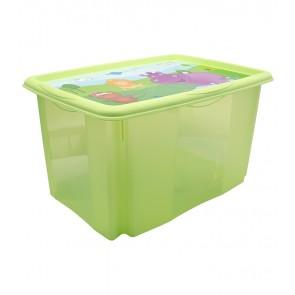 """Műanyag tároló doboz """"HIPPO"""", 45 l, zöld, fedéllel, 55x39,5x29,5 cm - UTOLSÓ 5 DB"""