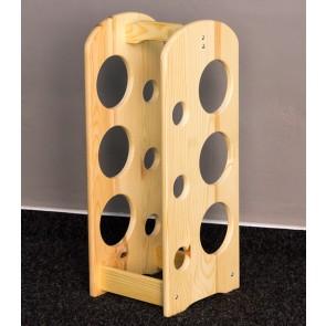 Bortartó, 6 üvegre, Natúr lakk, 42,5x18,5x18 cm