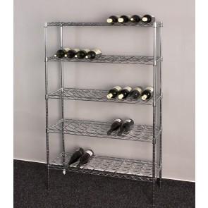 Deluxe krómozott bortartó, 45 üvegre, 140x90x35 cm