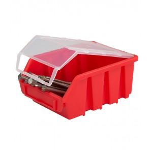 Alkatrésztároló doboz fedéllel, kicsi, piros, 16x11,6x7,5 cm