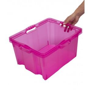 Multi XL műanyag tároló doboz, világos rózsaszín, fedél nélkül, 43x35x23 cm