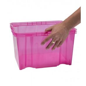 Multi M műanyag tároló doboz, világos rózsaszín, fedél nélkül, 35x27x21 cm