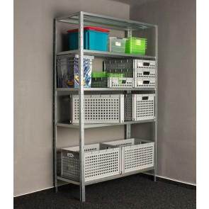 Idea fém polcrendszer, 5 polc, 200x100x30 cm, 90kg