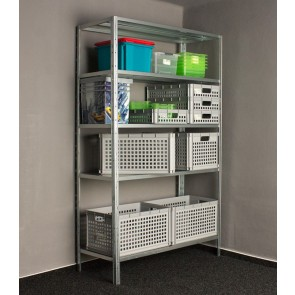 Idea fém polcrendszer, 5 polc, 240x100x40 cm, 130kg