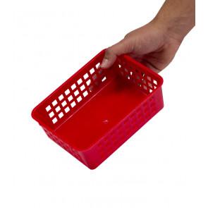 Műanyag kosár, A6 piros, 18,5x14x6 cm - UTOLSÓ 15 DB