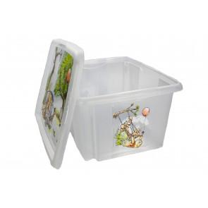 Műanyag doboz Micimackó, 24 l, átlátszó tetővel, 42x35x22 cm