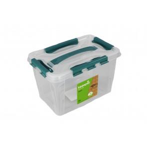 Műanyag Clipp doboz, 10 l, átlátszó, kék részletekkel, 39x29x12,4 cm - UTOLSÓ 5 DB