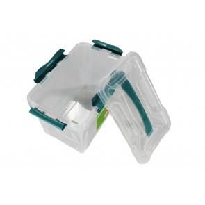 Műanyag Clipp doboz, 15,3 l, átlátszó, kék részletekkel, 39x29x18 cm - UTOLSÓ 6 DB