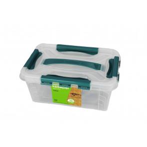Műanyag Clipp doboz, 4,2 l, átlátszó, kék részletekkel, 29x19x12,4 cm - UTOLSÓ 5 DB