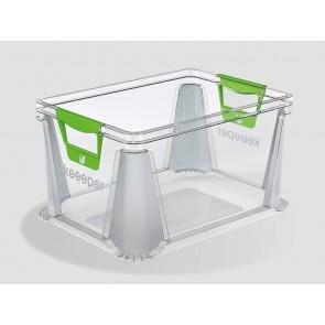 Eurobox műanyag tároló doboz, 20 L, átlátszó, 39x29x22 cm