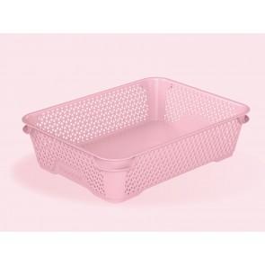 Mirko műanyag kosár, A5, rózsaszín, 26,5x20x7 cm