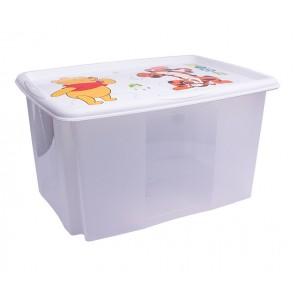 """Műanyag tároló doboz """"MICIMACKÓ"""", 45 l, átlátszó, fehér fedéllel, 55x39,5x29,5 cm - UTOLSÓ 3 DB"""