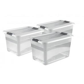 Kedvezményes műanyag doboz szett Crystal 52 l, 3 db