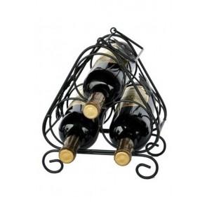 Fém bortartó, 3 üvegre, fekete, 25,5x21,5x16 cm