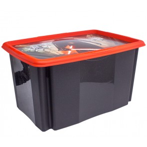 """Műanyag tároló doboz """"STAR WARS"""", 45 l, fekete, fedéllel, 55x39,5x29,5 cm"""